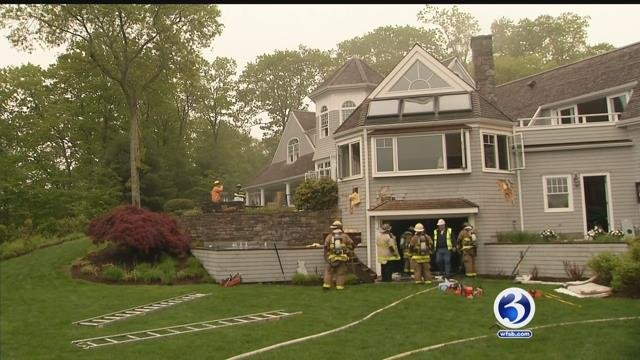 VIDEO: Isolated thunderstorm's lightning strike sparks house fire in Old Lyme