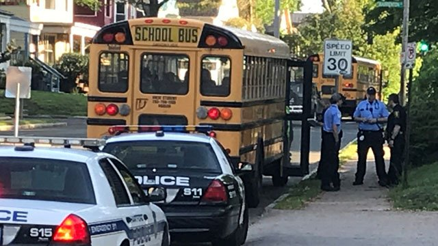 A school bus was involved in a minor hit-and-run at Capitol and Sisson avenues in Hartford on Thursday morning. (WFSB)