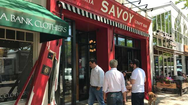 A car hit part of Savoy restaurant in West Hartford on Thursday (WFSB)