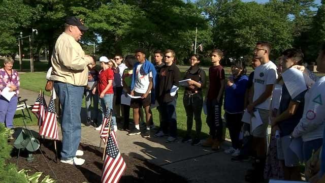 Bristol teens were given a history lesson from veterans on Thursday morning (WFSB)