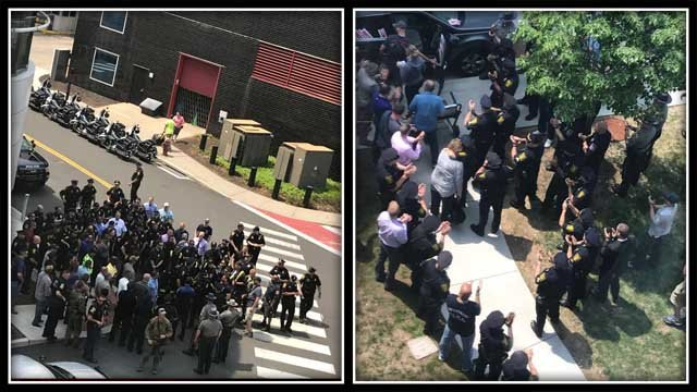 Officers lined up in support of Hartford Officer Jill Kidik on Friday (iwitness)
