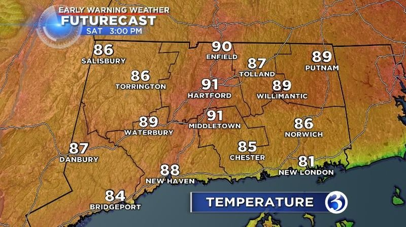 Saturday hot and humid, chance of thunderstorm
