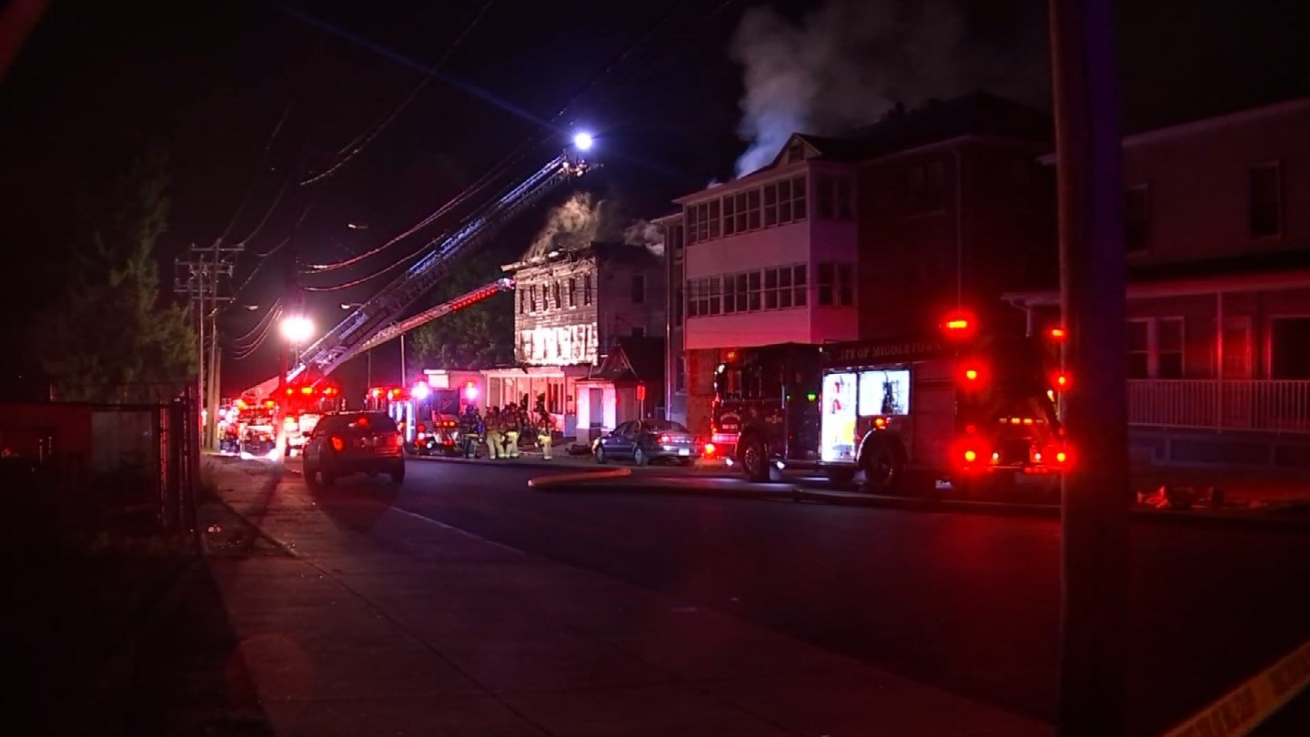 Firefighters believe a grill on the back porch of an apartment led to a fire in Middletown Sunday night. (WFSB)