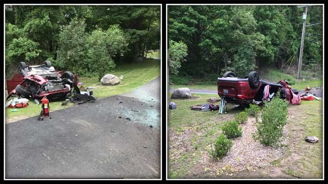 Two people were taken to the hospital after a crash in Tolland on Monday (@TollandAlert)