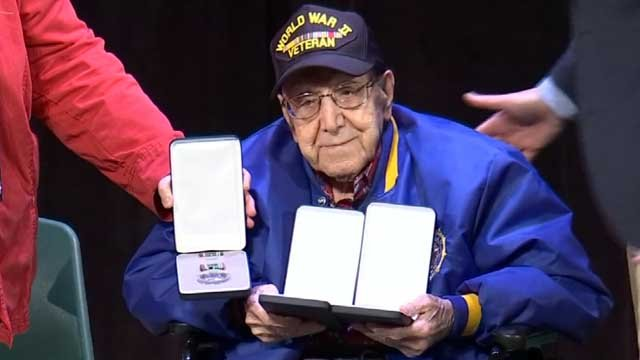 Fred Baselice of Hamden served in World War II, and was finally recognized with medals for his service. (WFSB)