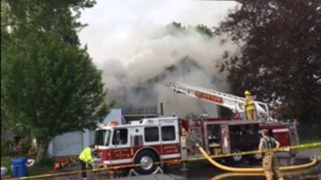 Crews were battling a house fire in Norwich on Monday (iwitness)