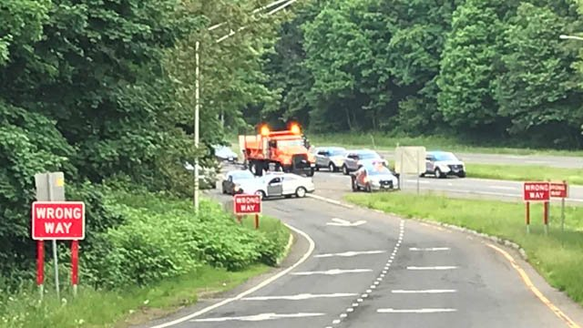 State police expected I-691 east to remain closed for several hours in Meriden due to a crash. (WFSB)