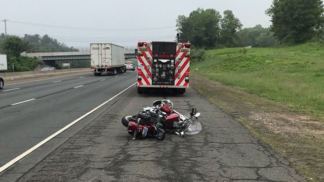 A deer was killed when it collided with a motorcyclist on I-84 in Willington on Tuesday morning. (@TollandAlert)