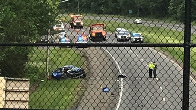 A crash involving a car and a tractor trailer closed part of I-691 in Meriden on Tuesday. (WFSB)