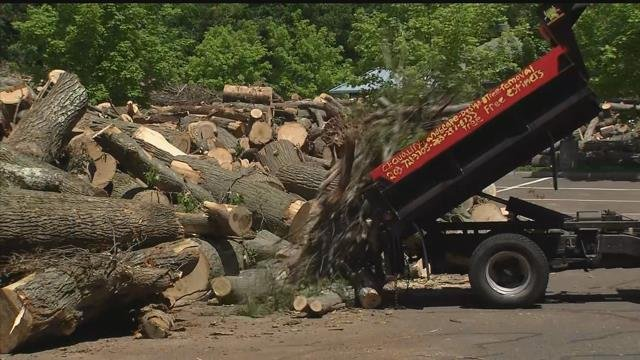 Debris continued to pile up in a lot in Hamden, more than two weeks after a tornado touched down. (WFSB)