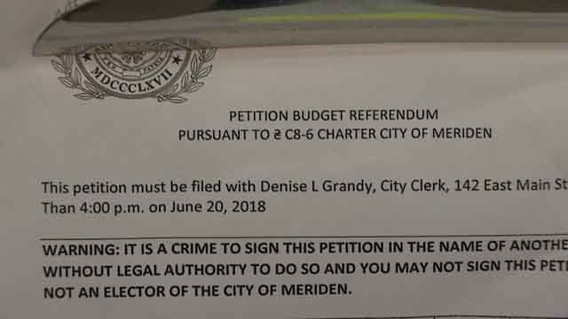 Meriden residents are signing a petition, calling for a budget referendum (WFSB)