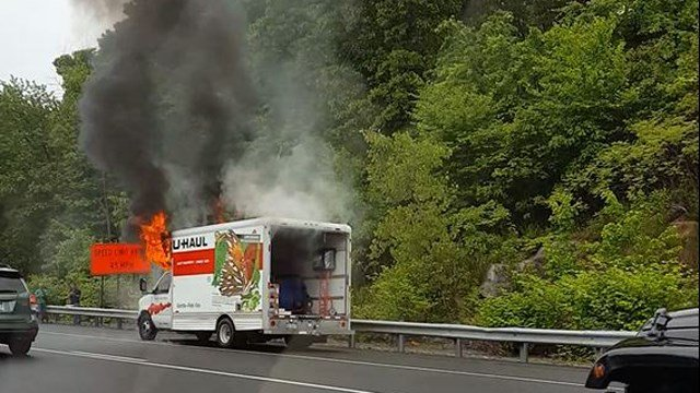 UHaul truck was on fire in Waterbury (Ron Phelan)