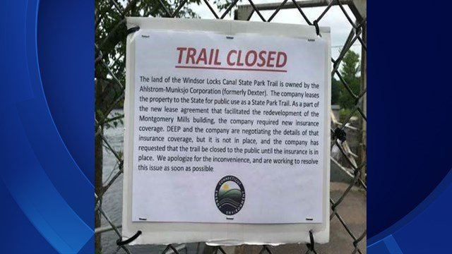 The Windsor Locks Canal Trail and Park is closed due to insurance issues (Windsor Locks Canal Trail and Park Facebook)