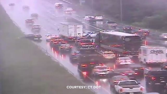 A crash on I-91 north in Rocky Hill slowed the Monday morning commute. (DOT)