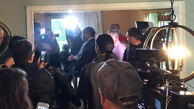 Secretary Ben Carson visited a Willington home affected by the crumbling foundation epidemic on Monday. (WFSB)