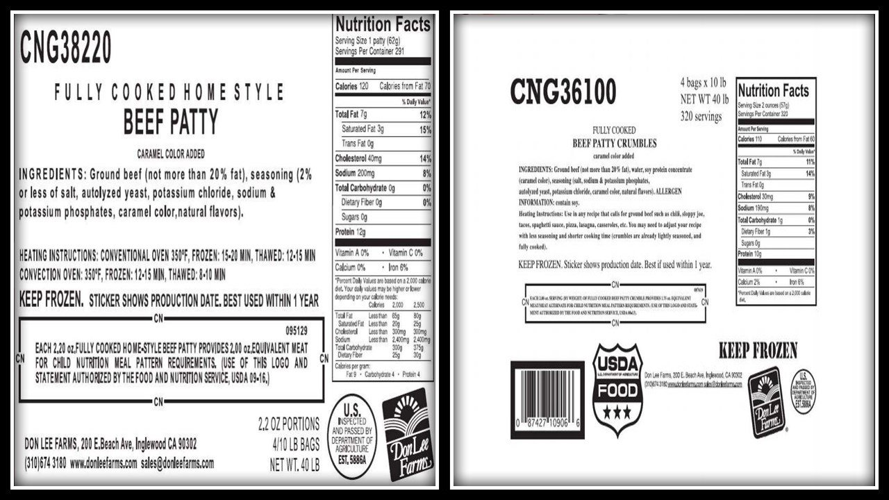 Don Lee Farms has recalled cooked ground beef due to the possibility of plastic contamination (USDA)