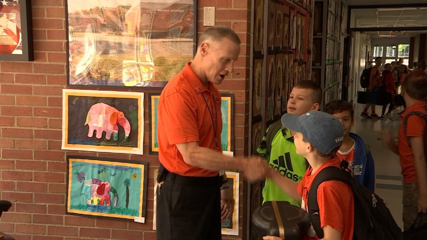 Bill Oneski, Mr. O., received a retirement sendoff from students in Burlington on Wednesday. (WFSB)