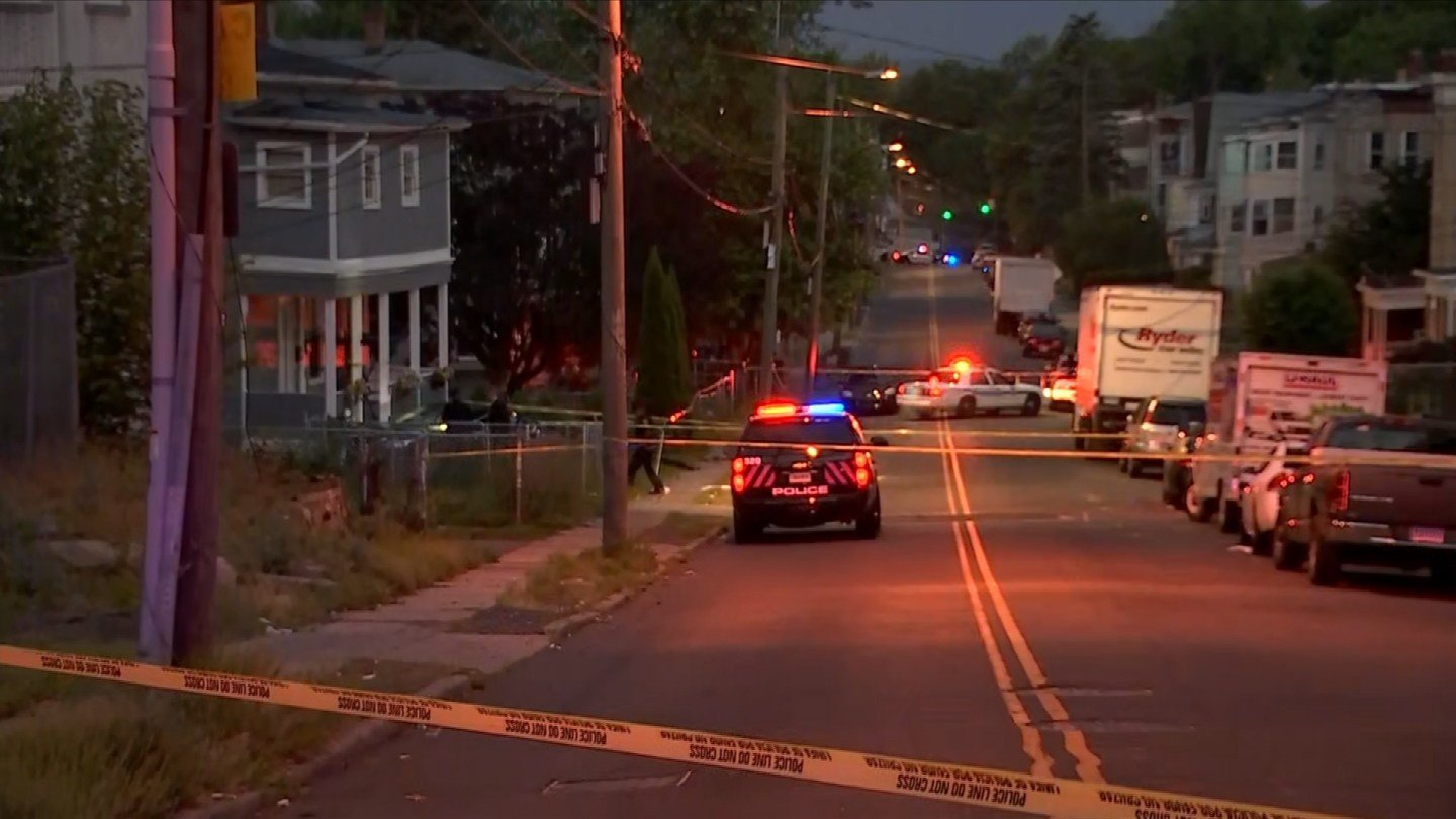 A deadly shooting led to a crash on Hamilton Street in Hartford early Thursday morning. (WFSB)