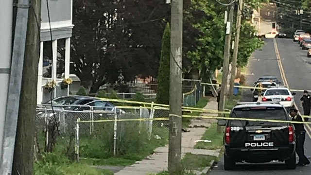 A person is dead after a shooting on Hamilton Street in Hartford that led to a crash. (WFSB)
