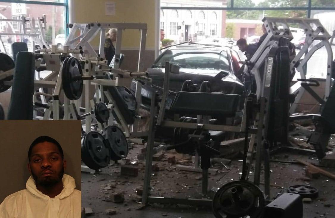 Brandon Chaney crashed into an East Hartford gym after a police pursuit (East Hartford PD)