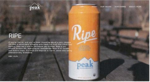 """Ripe"" brewed by Peak Organic Brewing Co., LLC (Peak Brewing)"