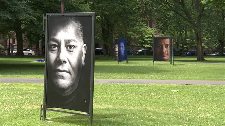 An art exhibition featuring photos of immigrants is at the New Haven green (WFSB)
