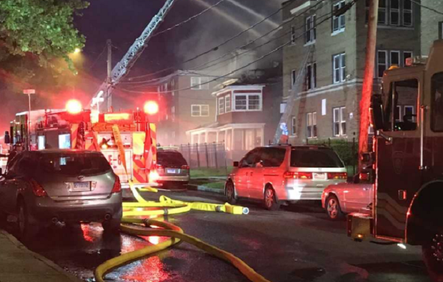 Three firefighters were hospitalized following a fire on South Marshall Street (WFSB)