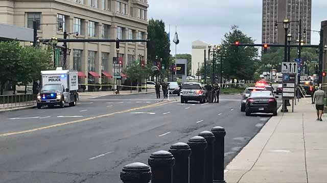 Columbus Boulevard in Hartford is closed after a person was hit by a car (WFSB)