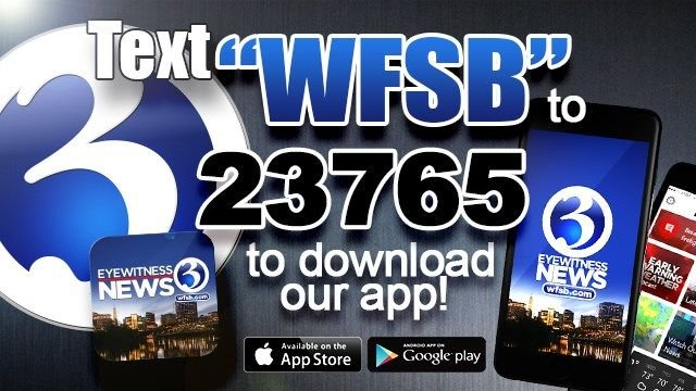 """Text """"WFSB"""" to 23765 to download the Channel 3 app. (WFSB)"""