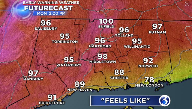 In advance of record breaking heat and an air quality alert due for Monday, Channel 3 issued an Early Warning Weather Day. (WFSB)