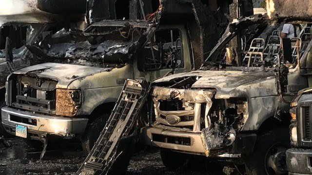 Four Goodwill buses caught on fire in North Haven (WFSB)