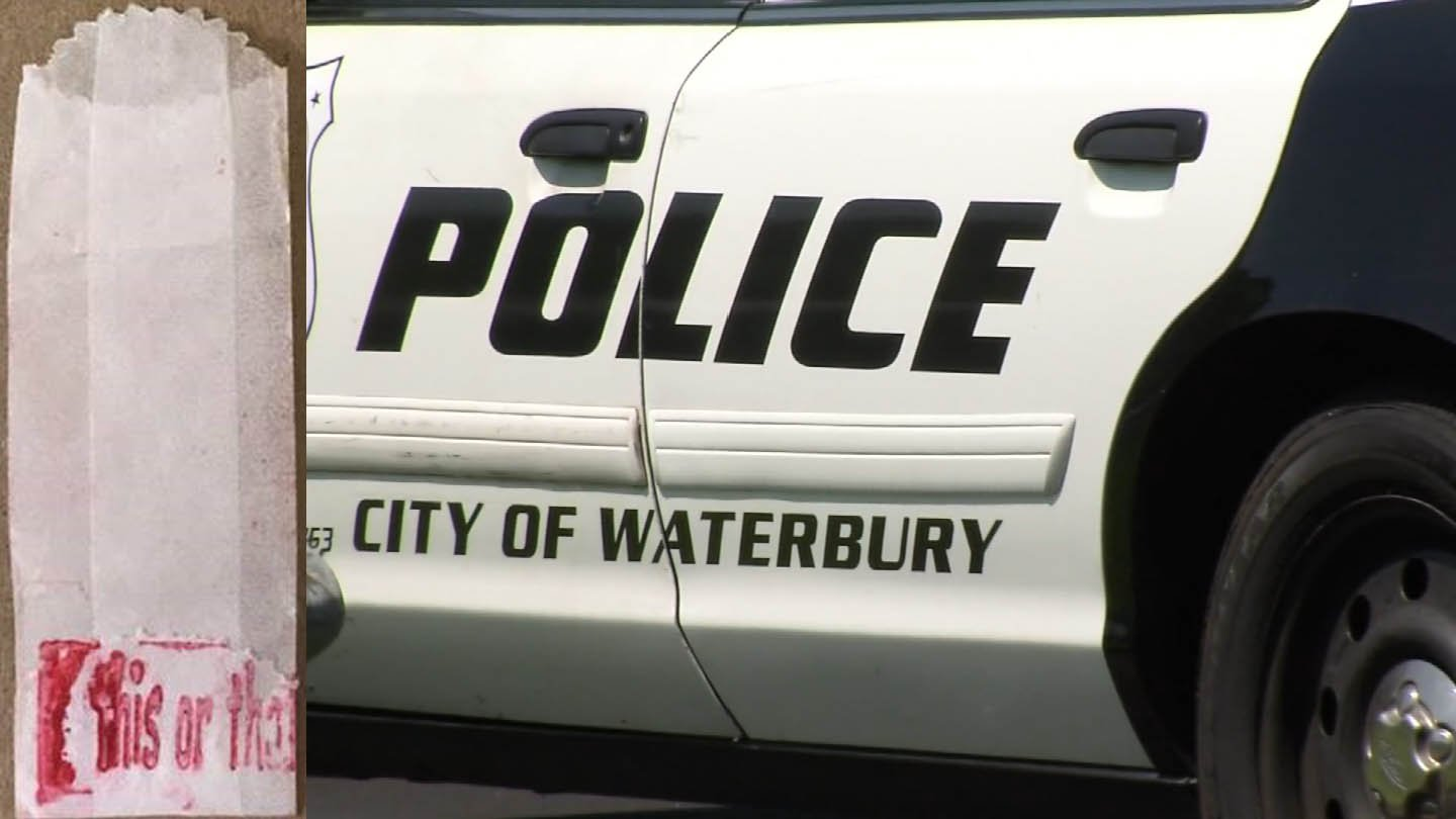 """Waterbury police are investigating heroin overdose cases in which the bags of the drugs had the words """"this or that"""" stamped on them. (Waterbury police/WFSB)"""