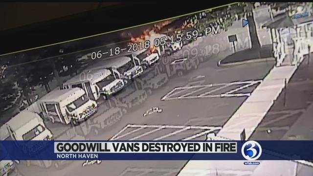 VIDEO: Goodwill officials believe mulch ignited, destroyed 4 of its vans