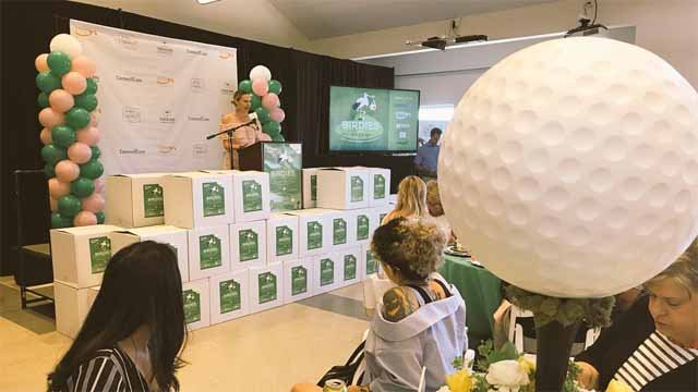 Rosie Pope talks to a crowd at Birdies and Bogeys, a military baby shower, about her experience as a mom and entrepreneur! (WFSB)