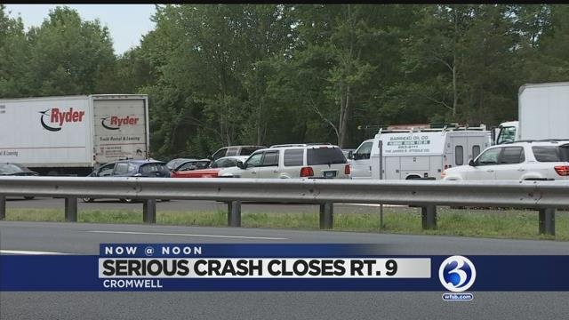 Video: Route 9 north in Cromwell remains closed after serious crash
