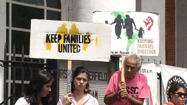 An immigration rally was held on New Haven on Tuesday (WFSB)
