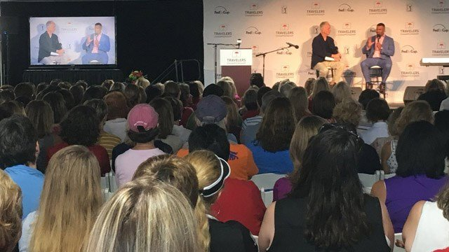 Actor/singer Christopher Jackson spoke at the Women's Day event of the Travelers Championship on Thursday. (WFSB)