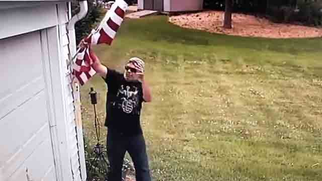 This man was caught on camera stealing the mayor's flag (Mayor Erin Stewart)