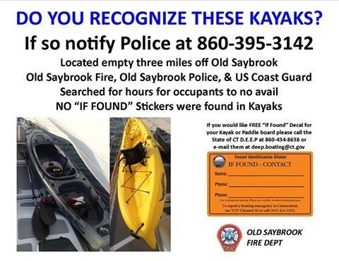 "Old Saybrook FD is urging kayakers to use ""If Found"" stickers after unattended kayaks were found (Facebook)"