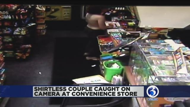 Video: Man, woman walk shirtless around New Haven convenience store