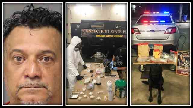 Jose Velazquez was arrested after he was found with more than 1 pound of fentanyl. (CT State Police)