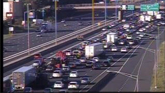 A motorcycle crash is creating major delays on I-84 in East Hartford (DOT)