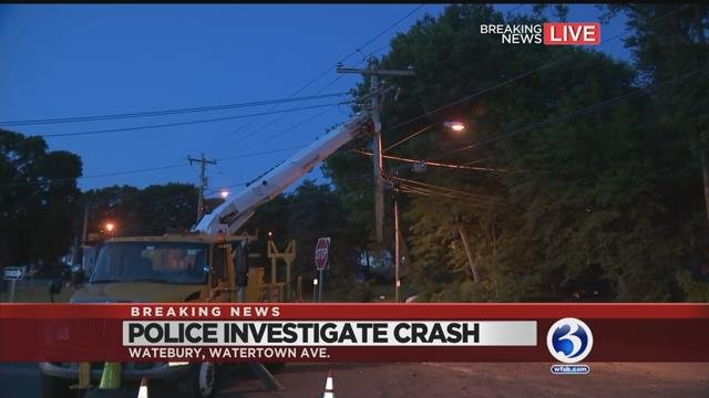 VIDEO: Road reopens following utility pole crash in Waterbury