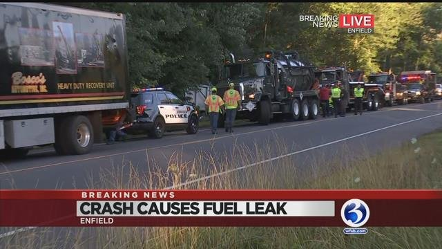 VIDEOS: Dump truck crash closes both sides of Hazard Ave. in Enfield