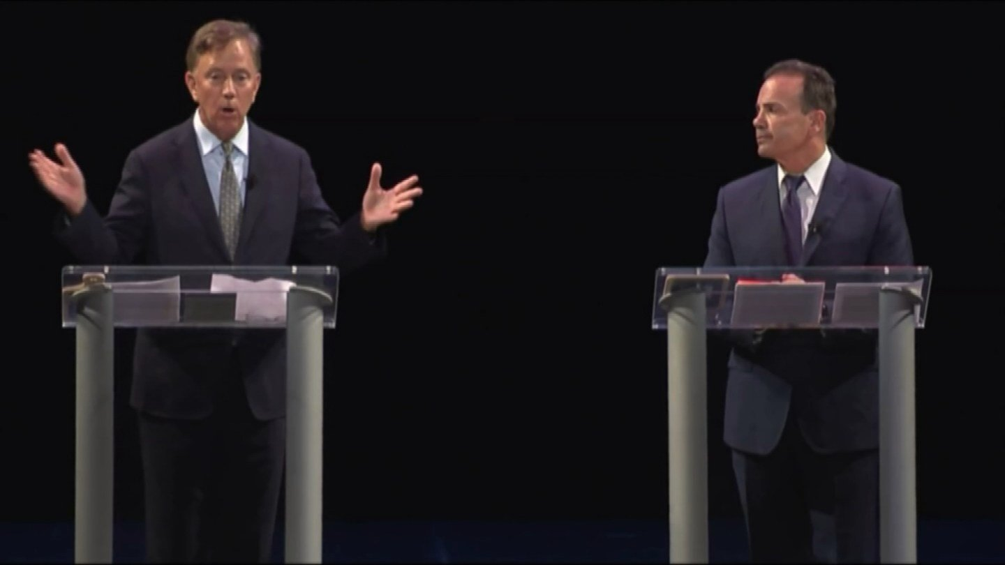 Democratic candidates for governor Ned Lamont and Joe Ganim during a previous debate. (WFSB file)