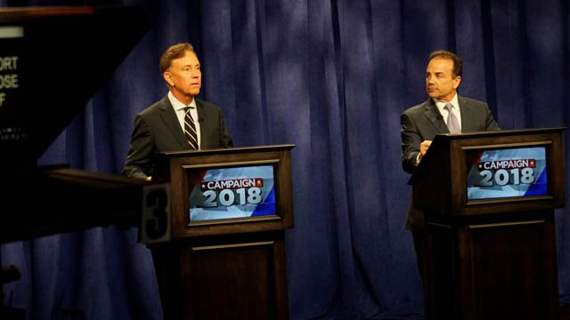 Ned Lamont and Joe Ganim faced off in a debate on Channel 3 Tuesday afternoon (WFSB)