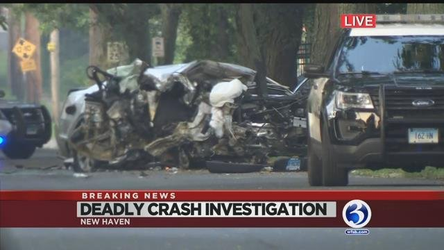 VIDEO: PD: 1 dead after car strikes tree in New Haven