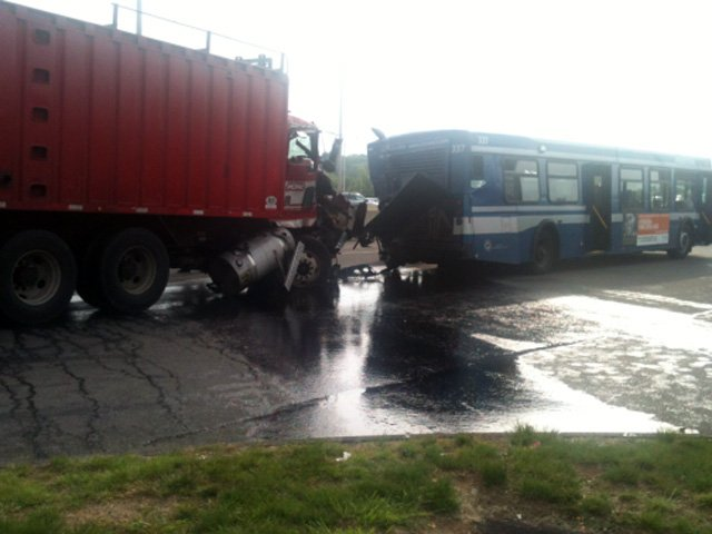 Here is a photo of the bus crash in East Haven.