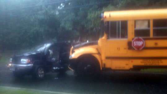 A school bus and vehicle crashed in East Haddam on Tuesday morning.