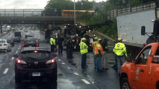 Here is a picture of the jackknifed tractor trailer in New Haven.